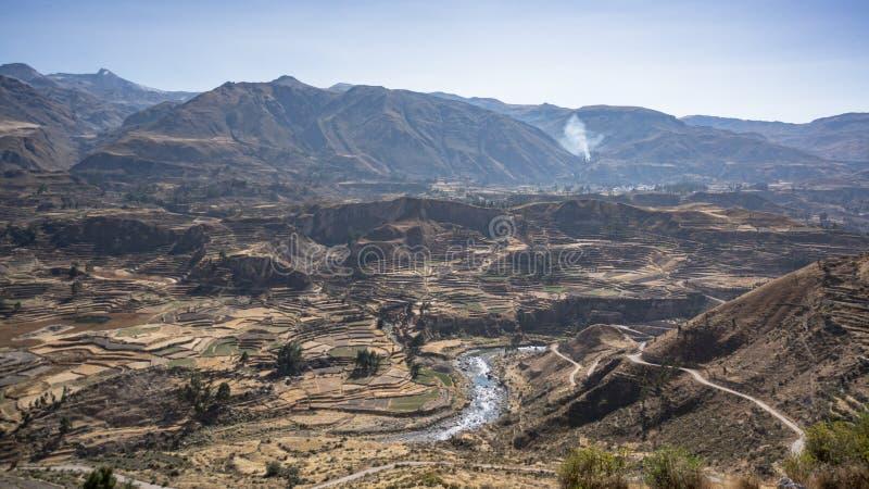 Vista Panorámica Del Barranco De Colca Perú Suramérica Con