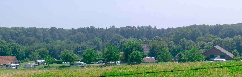 Vista panorámica del camping holandés foto de archivo