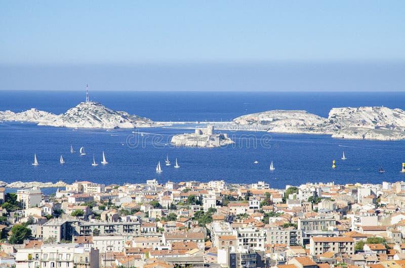 Vista panorámica del castillo francés d 'si, Marsella, Francia fotografía de archivo
