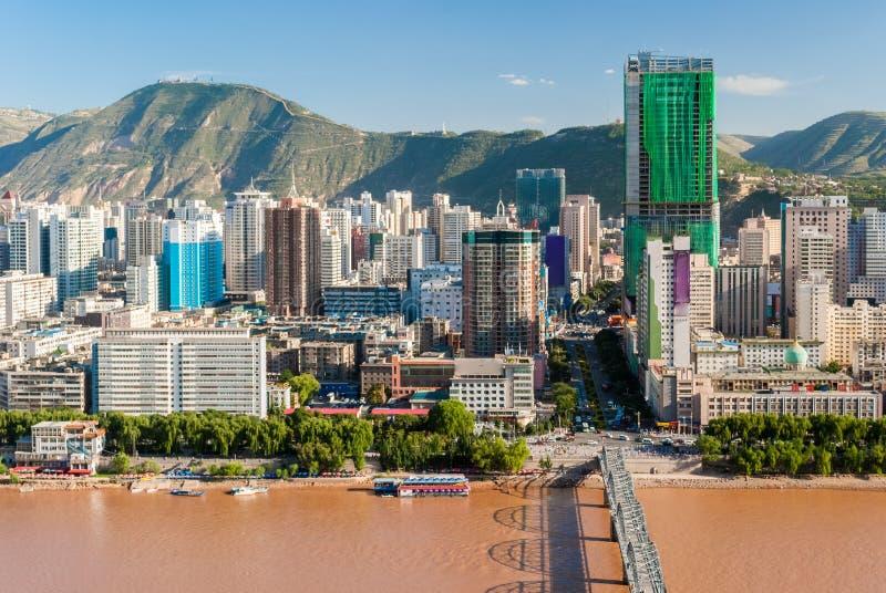 Vista panorámica del centro de la ciudad de Lanzhou China fotografía de archivo
