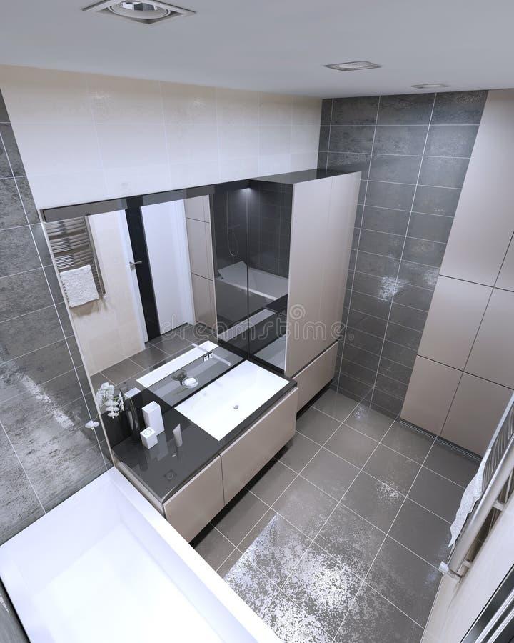 Vista panorámica del cuarto de baño moderno stock de ilustración