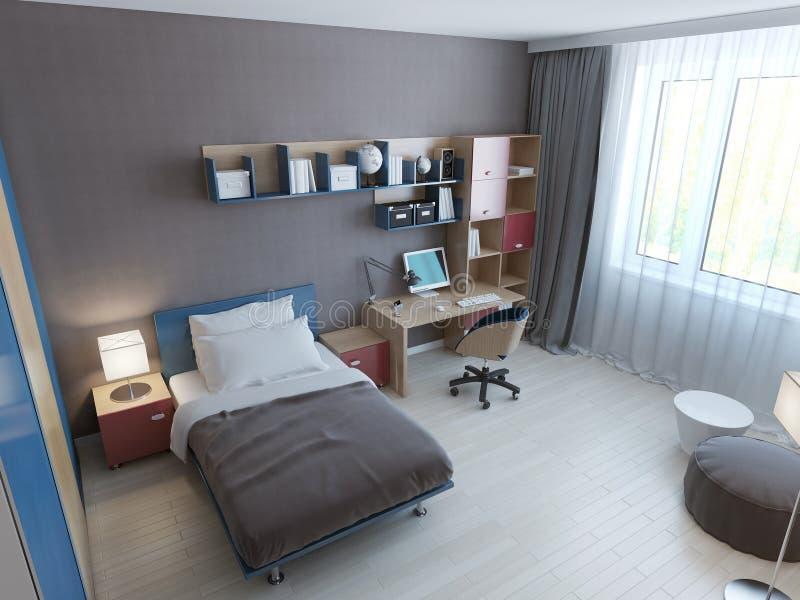 Vista panorámica del dormitorio minimalista de los niños libre illustration