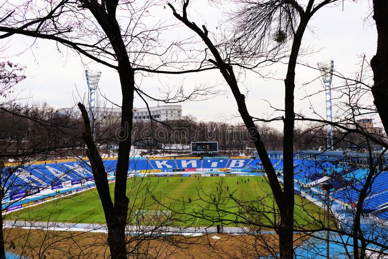 Vista panorámica del estadio del equipo de fútbol de Dinamo Kiev imagenes de archivo
