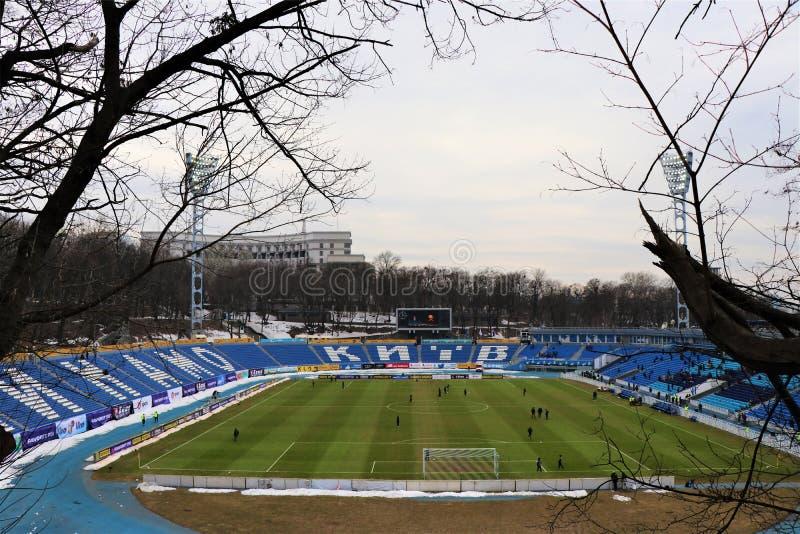 Vista panorámica del estadio del equipo de fútbol de Dinamo Kiev fotografía de archivo libre de regalías