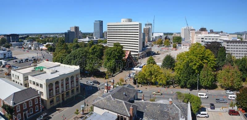 Vista panorámica del horizonte de la ciudad de Christchurch (Nueva Zelanda). imagen de archivo