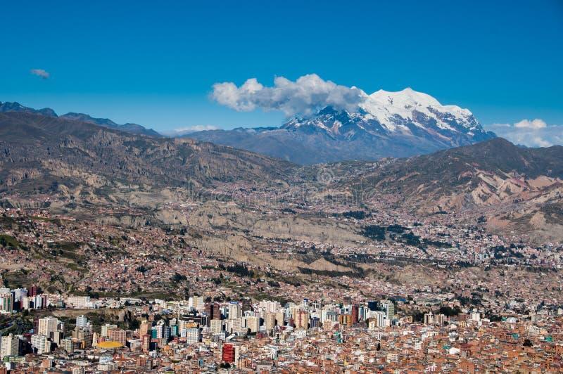 Vista panorámica del La Paz, Bolivia fotos de archivo