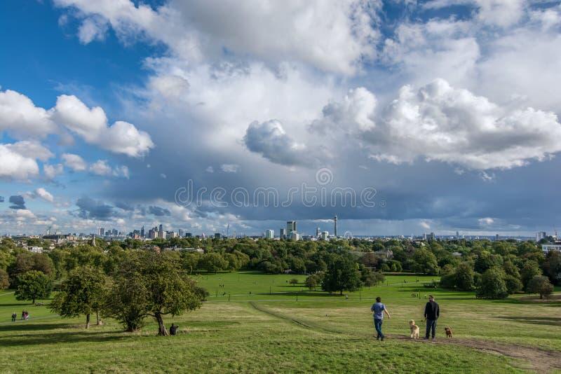 Vista panorámica del parque de la colina de la primavera en Londres durante el principio del otoño fotografía de archivo