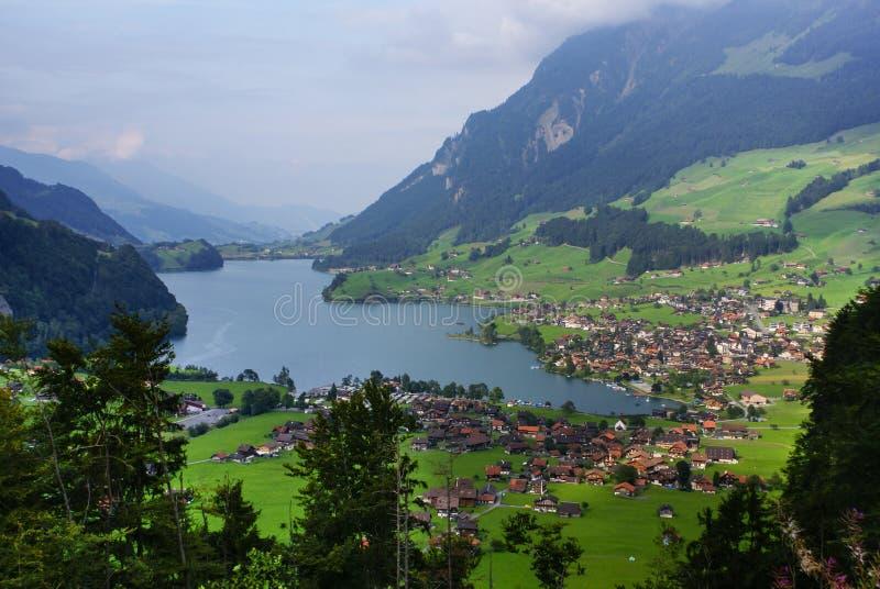 Vista panorámica del pueblo de Grindelwald, Suiza fotografía de archivo