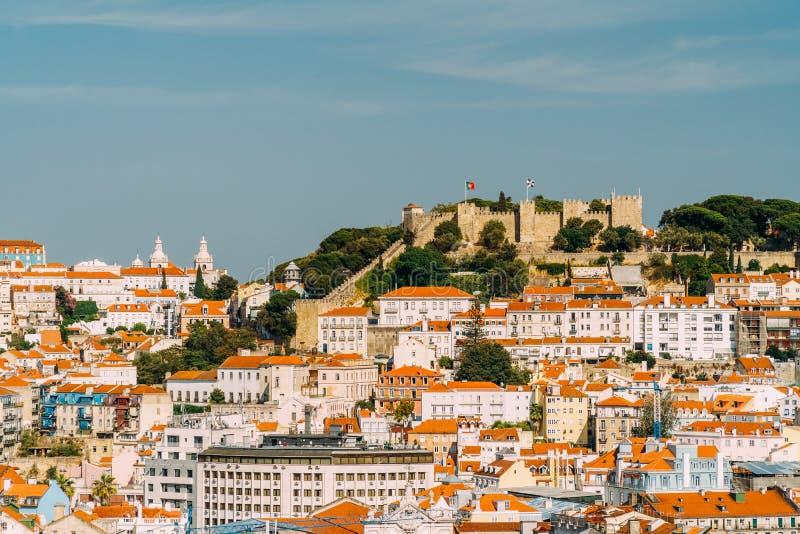 Vista panorámica del sao Jorge Castle In Lisbon foto de archivo libre de regalías