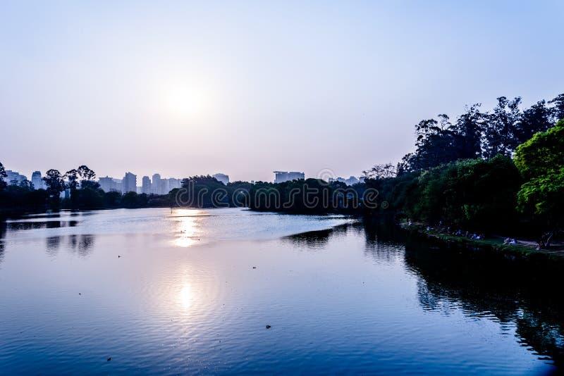 Vista panorámica del twilght en el parque de Ibirapuera, en el sao Pau imagen de archivo libre de regalías