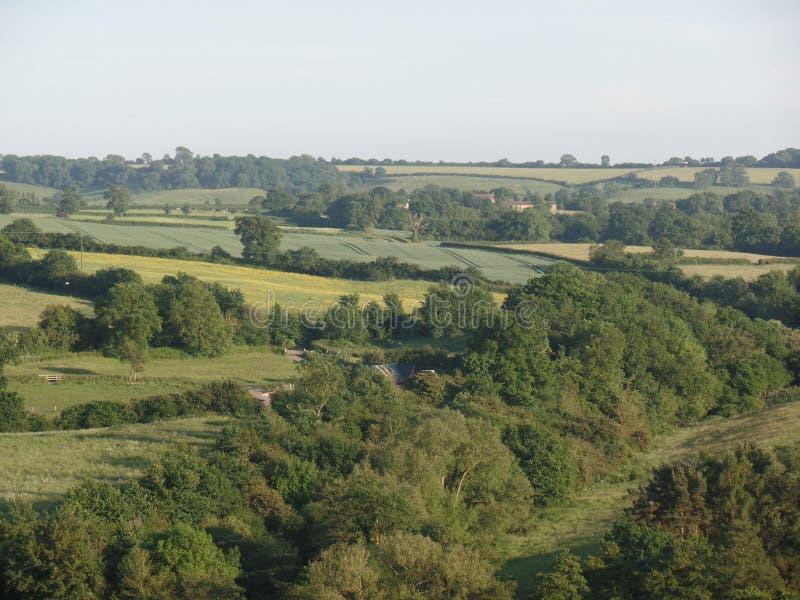 Vista panorámica del valle del Chew en Somerset, Inglaterra foto de archivo