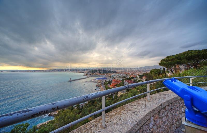 Vista panorámica granangular de Niza, Francia fotografía de archivo