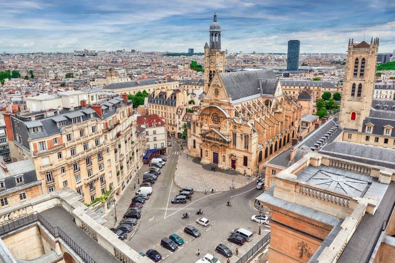 Vista panorámica hermosa de París del tejado del panteón fotos de archivo libres de regalías