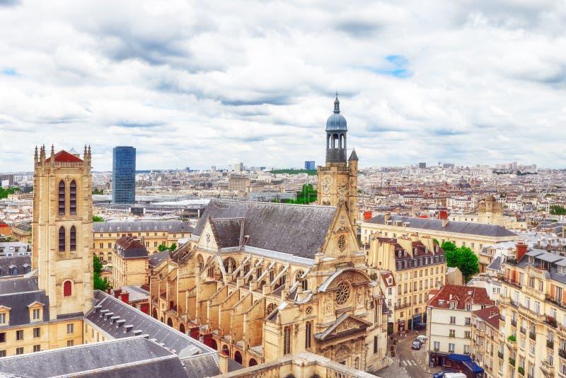 Vista panorámica hermosa de París del tejado del panteón imagen de archivo