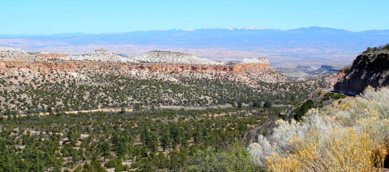Vista panorámica hermosa del paisaje amplio en el oeste de los E.E.U.U. con los barrancos y las montañas blancas en el fondo imagen de archivo libre de regalías