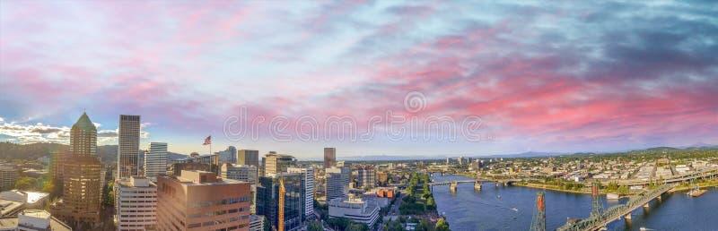Vista panorâmica aérea de Portland, Oregon imagens de stock