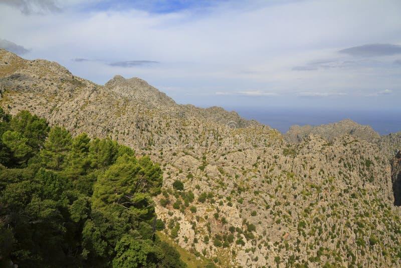 Vista panorâmica bonita de Mirador es Colomer, Mallorca, Balearic Island, Espanha fotos de stock royalty free