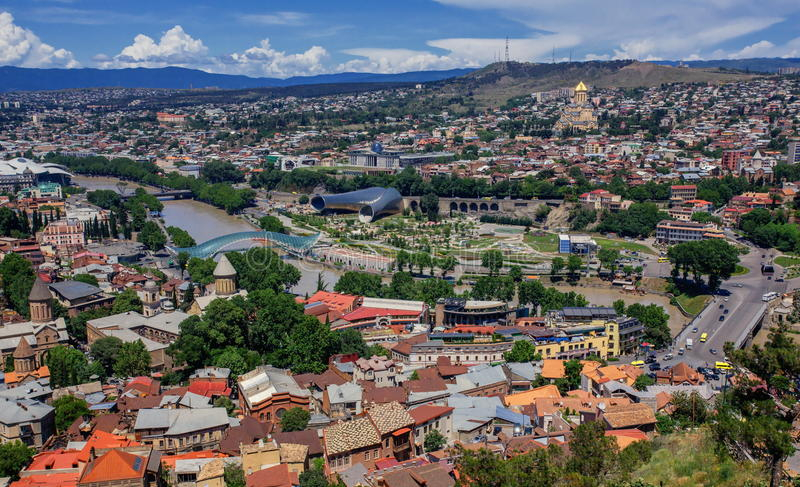 Vista panorâmica bonita de Tbilisi, Geórgia fotos de stock