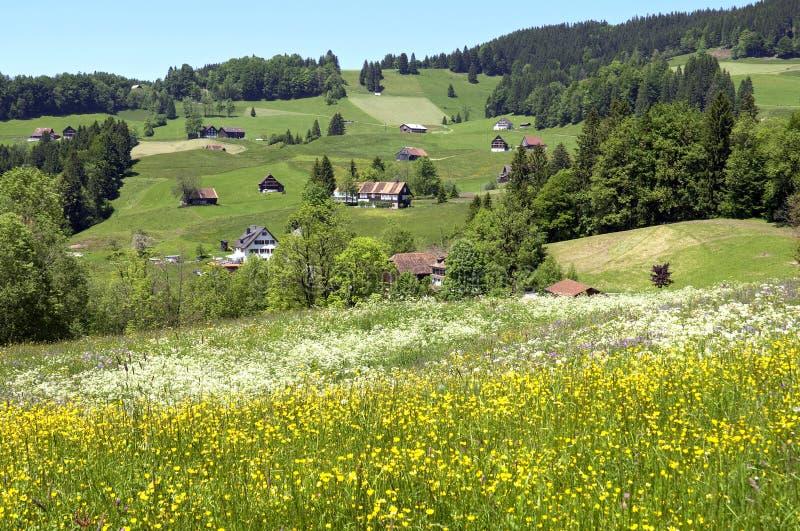 Vista panorâmica da aldeia da montanha suíça nos cumes fotos de stock