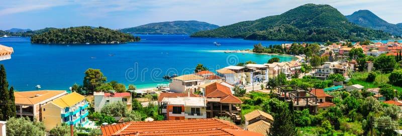 Vista panorâmica da baía de Nidri, ilha bonita de Lefkada Greece fotos de stock