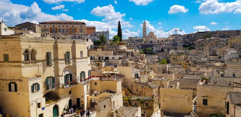 Vista panorâmica da cidade antiga de Matera Sassi di Matera em Basilicata, Itália do sul imagens de stock royalty free