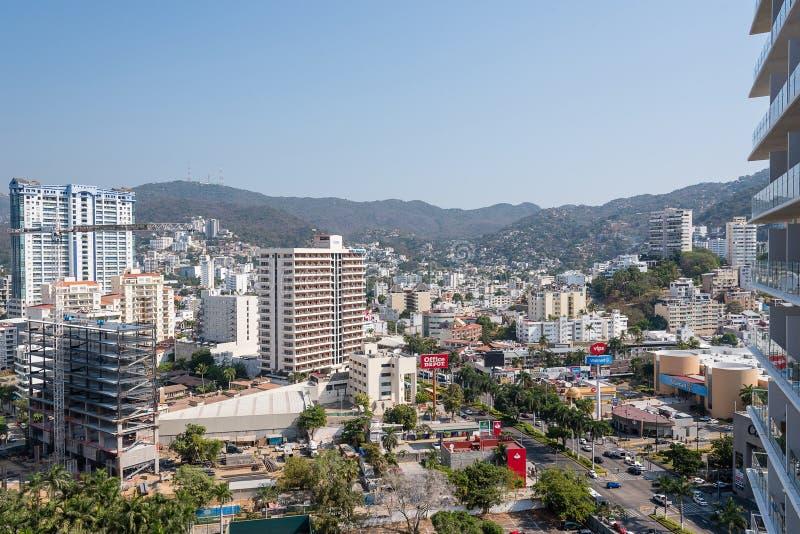 Vista panorâmica da cidade de Acapulco imagem de stock