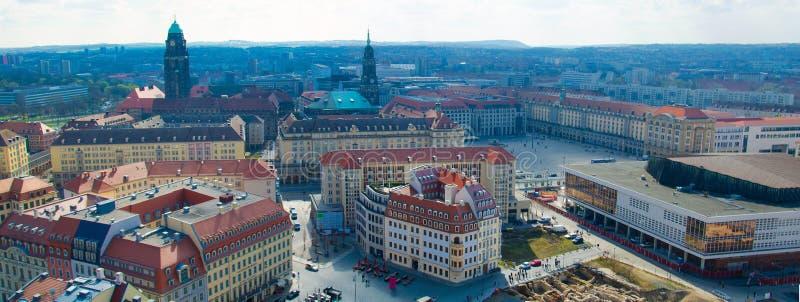 Vista panorâmica da cidade de Dresden da igreja luterana, Alemanha fotografia de stock royalty free