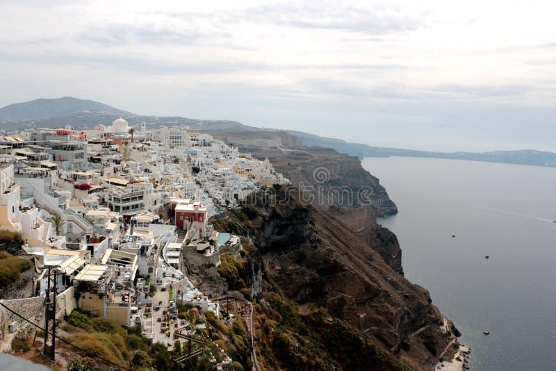 Vista panorâmica da cidade de Fira, Santorini, Grécia fotos de stock royalty free