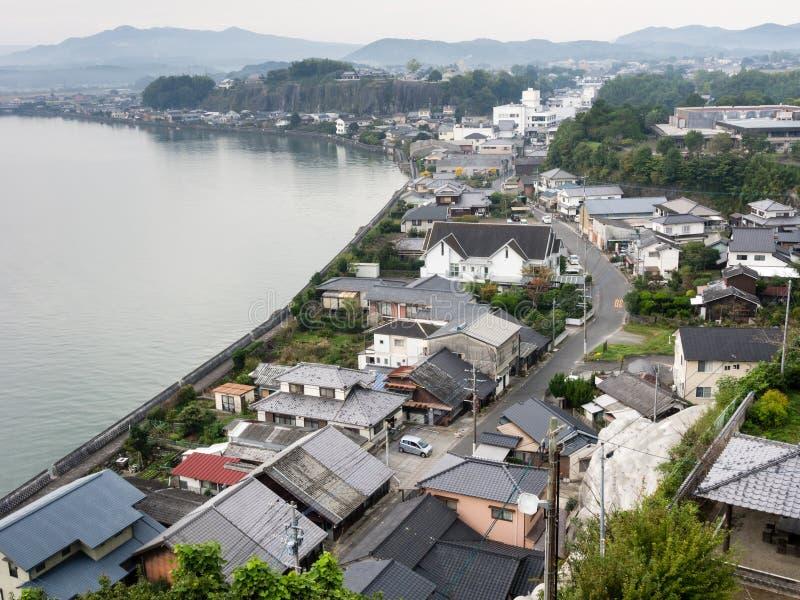 Vista panorâmica da cidade de Kitsuki - prefeitura de Oita, Japão fotografia de stock