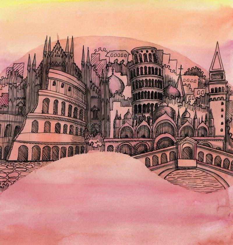 A vista panorâmica da cidade de Roma de Itália ilustração royalty free