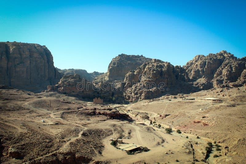 Vista panorâmica da cidade histórica de PETRA, Jordânia foto de stock royalty free