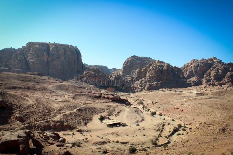 Vista panorâmica da cidade histórica de PETRA, Jordânia imagem de stock royalty free