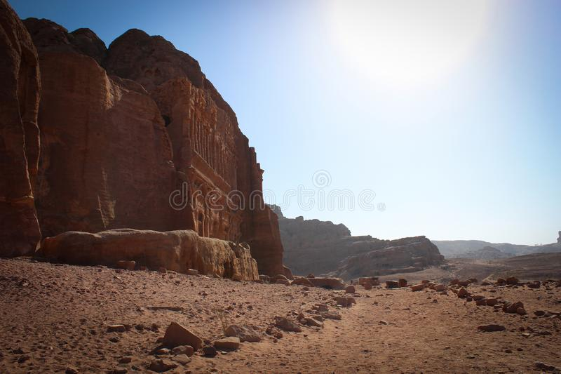 Vista panorâmica da cidade histórica de PETRA, Jordânia imagens de stock
