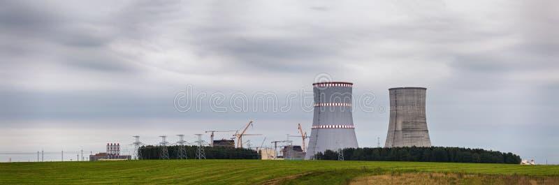 Vista panorâmica da construção do central nuclear de Bielorrússia fotos de stock royalty free