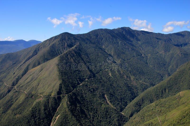 Vista panorâmica da estrada da morte, Bolívia fotografia de stock