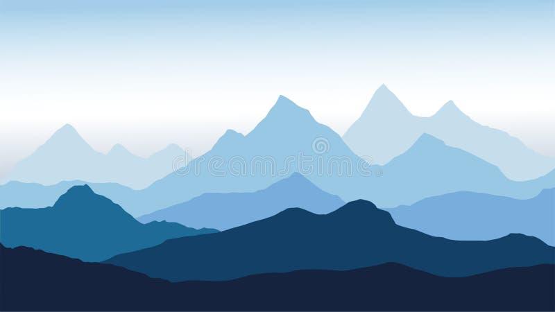 Vista panorâmica da paisagem da montanha com névoa no vale abaixo com o céu azul do alpenglow ilustração do vetor