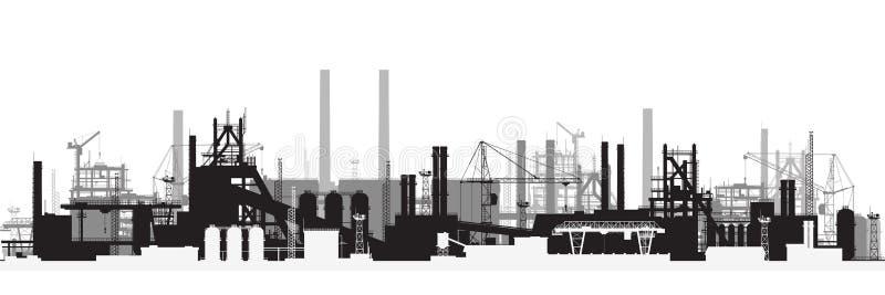 Vista panorâmica da paisagem industrial ilustração stock
