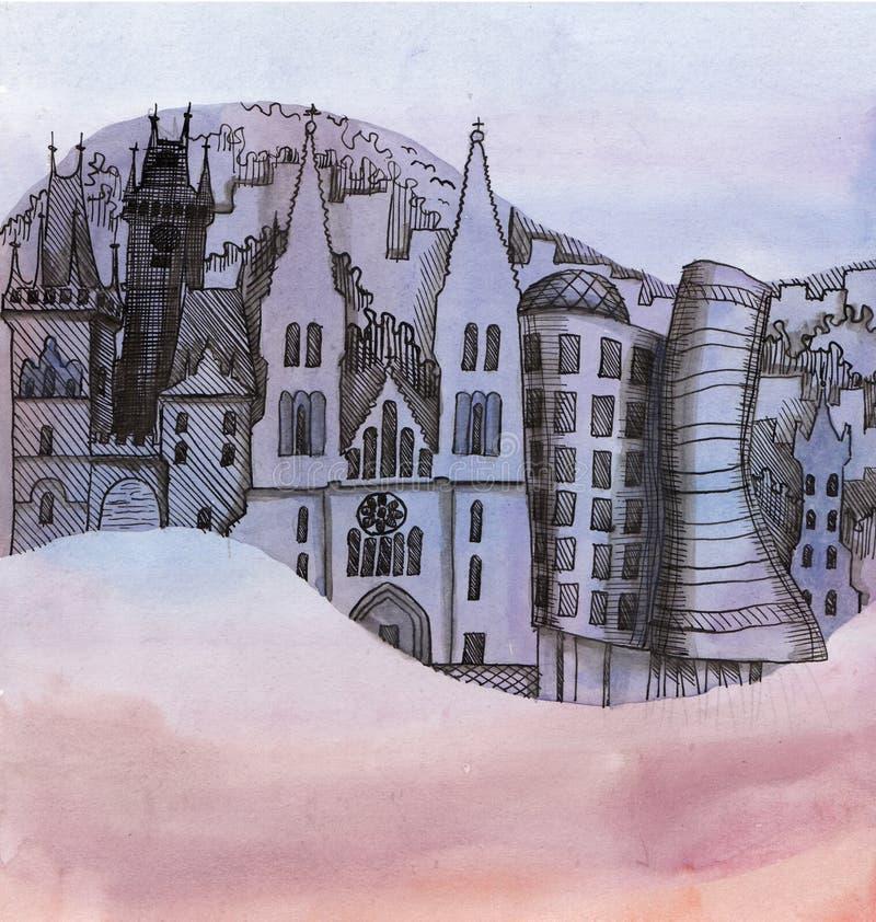 A vista panorâmica da Praga ilustração royalty free