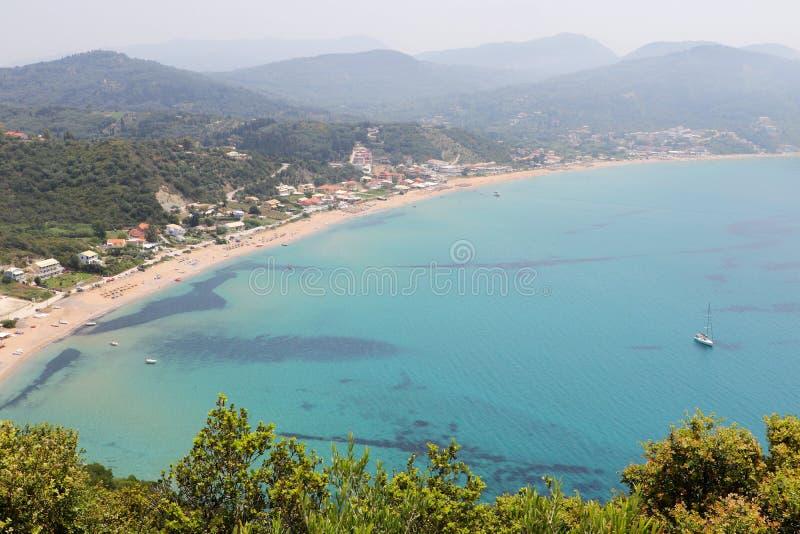 Vista panorâmica da praia Corfu greece de Agios Georgios imagem de stock royalty free