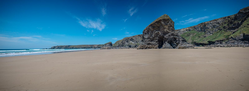 Vista panorâmica da praia Cornualha Inglaterra de Bedruthan fotografia de stock royalty free