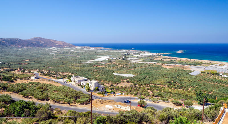 Vista panorâmica da praia de Falasarna na Creta, Grécia fotos de stock