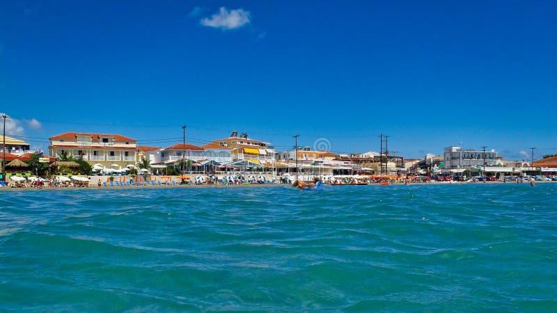 Vista panorâmica da praia de Laganas, ilha grega de Zakynthos, Grécia fotos de stock