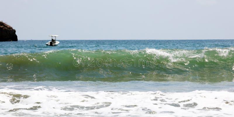 A vista panorâmica da praia do parque nacional de Manuel Antonio em Costa Rica, a maioria de praias bonitas no mundo, surfista en imagens de stock