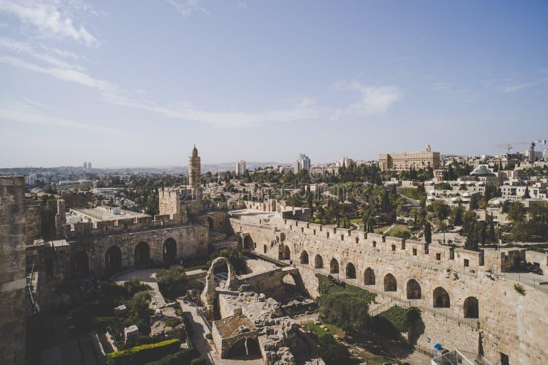 Vista panorâmica da torre de David no tempo de mola na cidade velha do Jerusalém, Israel fotografia de stock royalty free