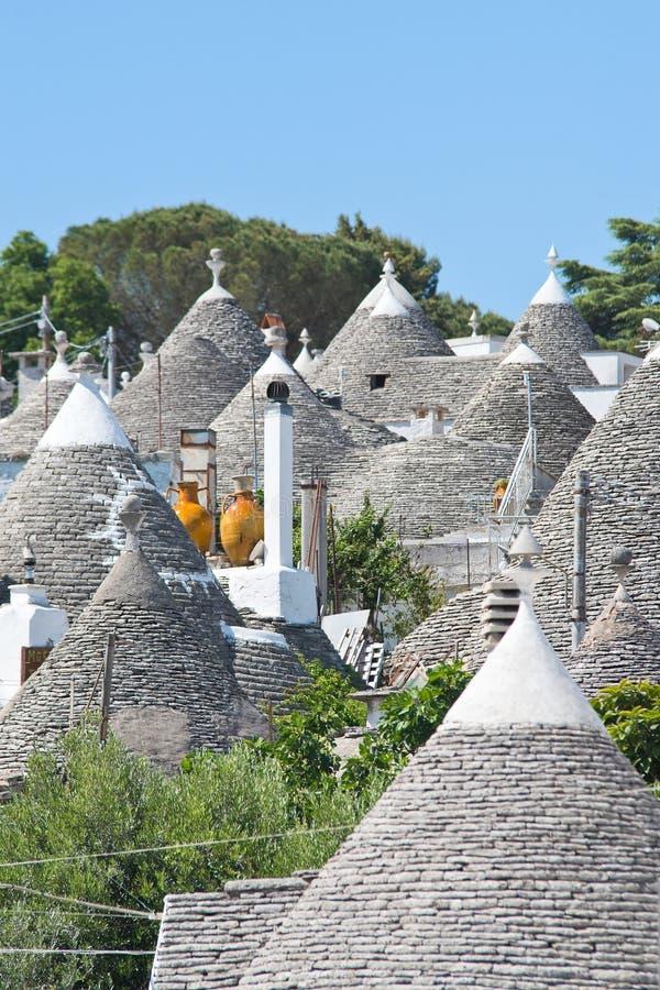 Vista panorâmica de Alberobello Puglia Italy imagens de stock royalty free