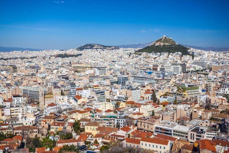 Vista panorâmica de Atenas do monte da acrópole, dia ensolarado imagem de stock
