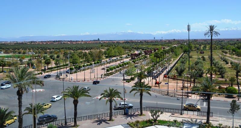 Vista panorâmica de Bab Jdid Marrakesh, Marrocos imagem de stock royalty free
