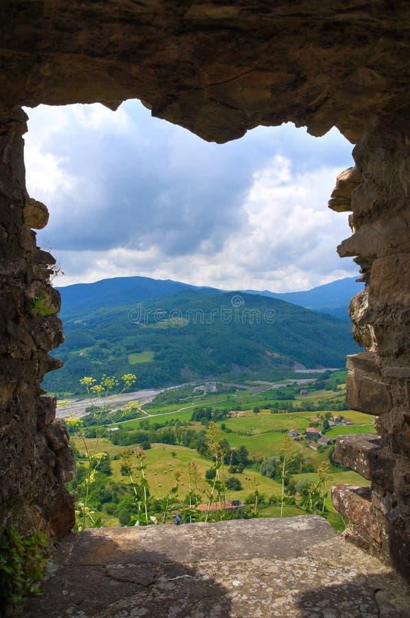 Vista panorâmica de Bardi. Emilia-Romagna. Itália. foto de stock