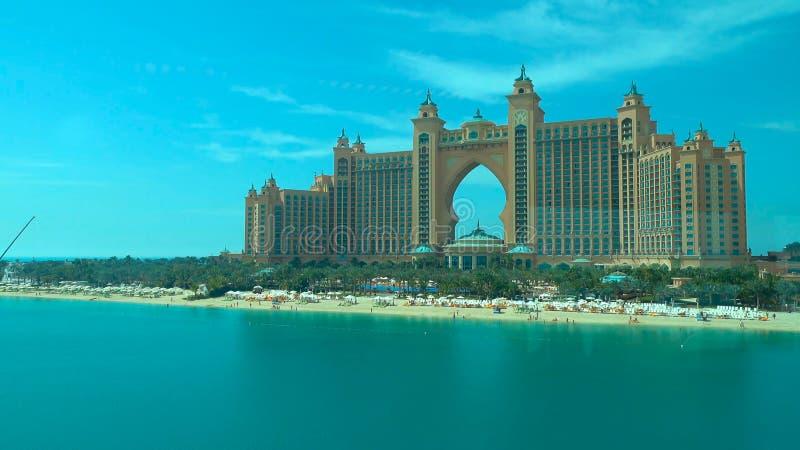 Vista panorâmica de Dubai da ilha de palma 2018 foto de stock