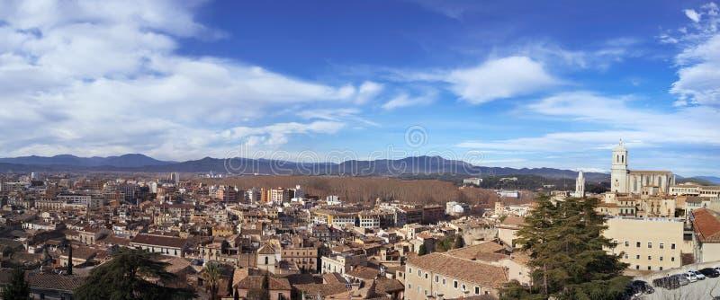 Vista panorâmica de Girona, na Espanha fotos de stock royalty free